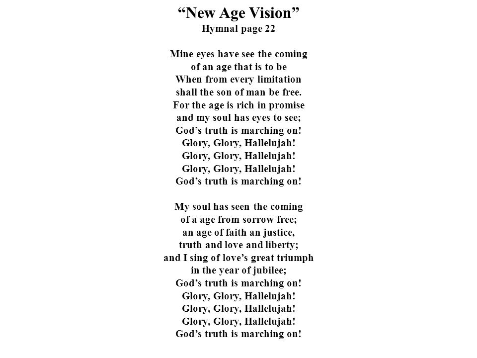 New Age Vision Hymnal page 22