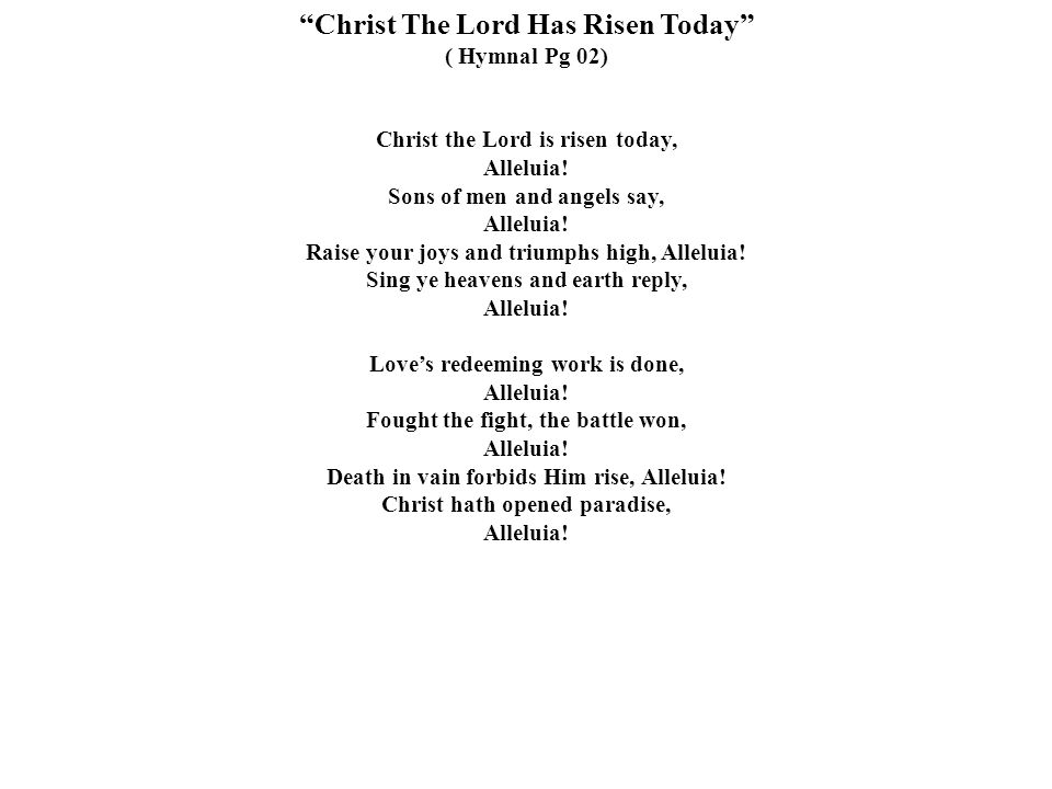 Christ The Lord Has Risen Today
