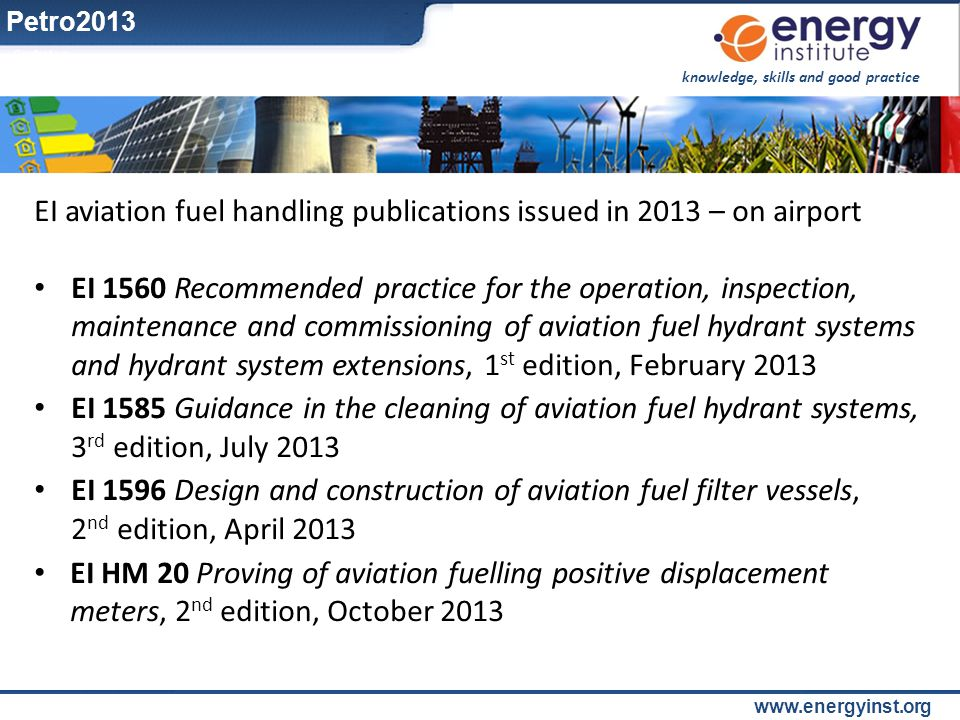 EI aviation fuel handling publications issued in 2013 – on airport