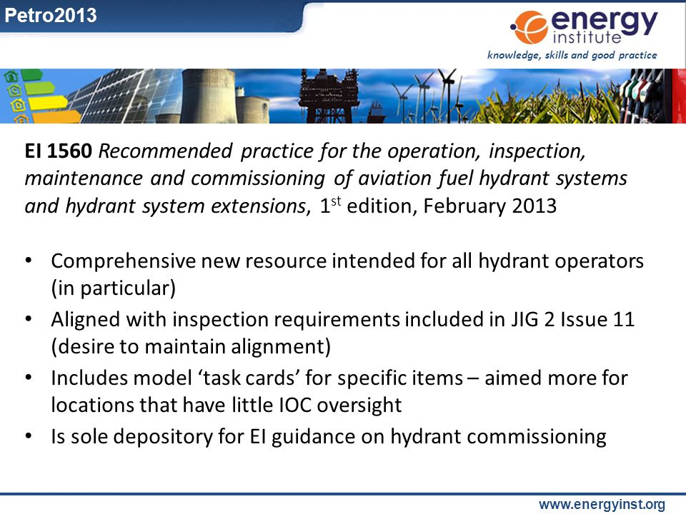 Is sole depository for EI guidance on hydrant commissioning