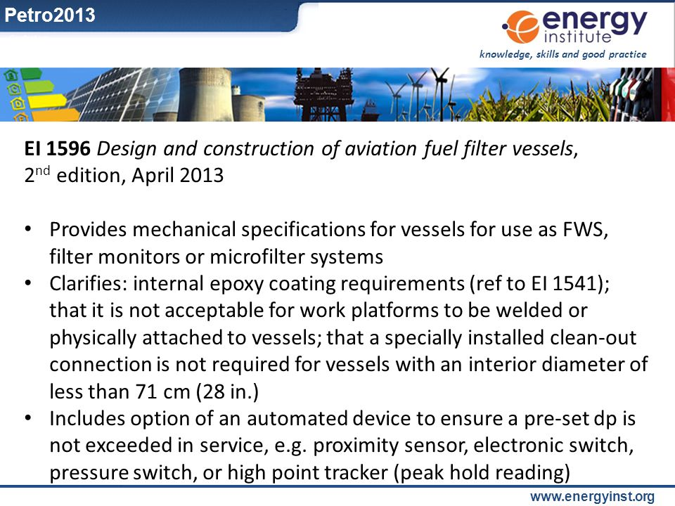 EI 1596 Design and construction of aviation fuel filter vessels,