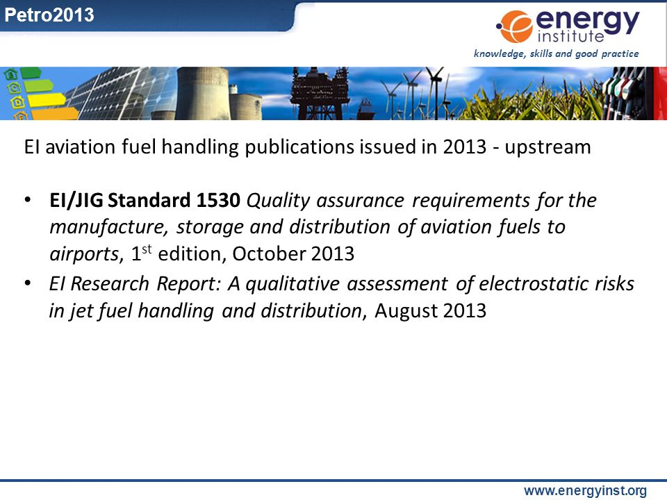 EI aviation fuel handling publications issued in 2013 - upstream