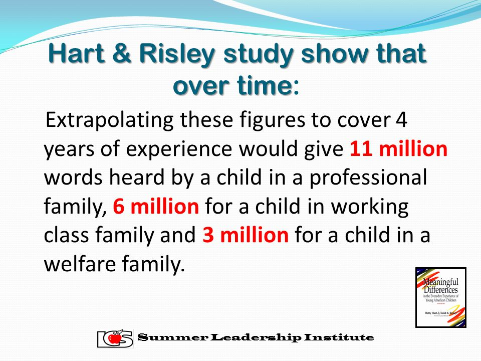 Hart & Risley study show that over time: