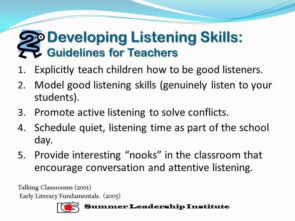 Developing Listening Skills: Guidelines for Teachers