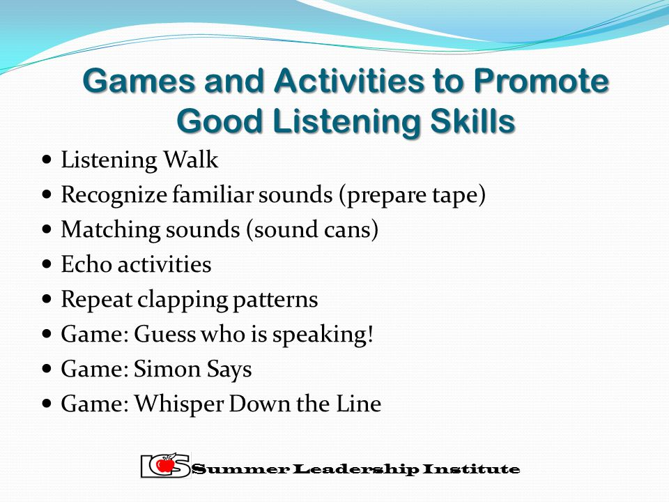 Games and Activities to Promote Good Listening Skills