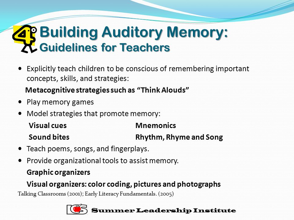 Building Auditory Memory: Guidelines for Teachers
