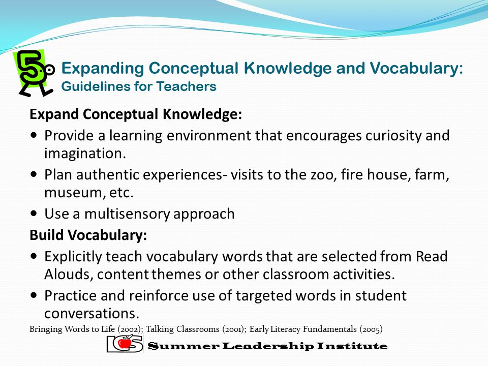 Expanding Conceptual Knowledge and Vocabulary: Guidelines for Teachers