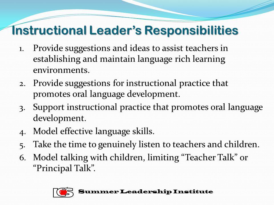 Instructional Leader's Responsibilities