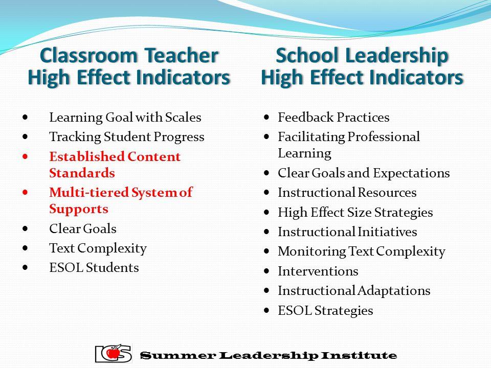 Classroom Teacher High Effect Indicators