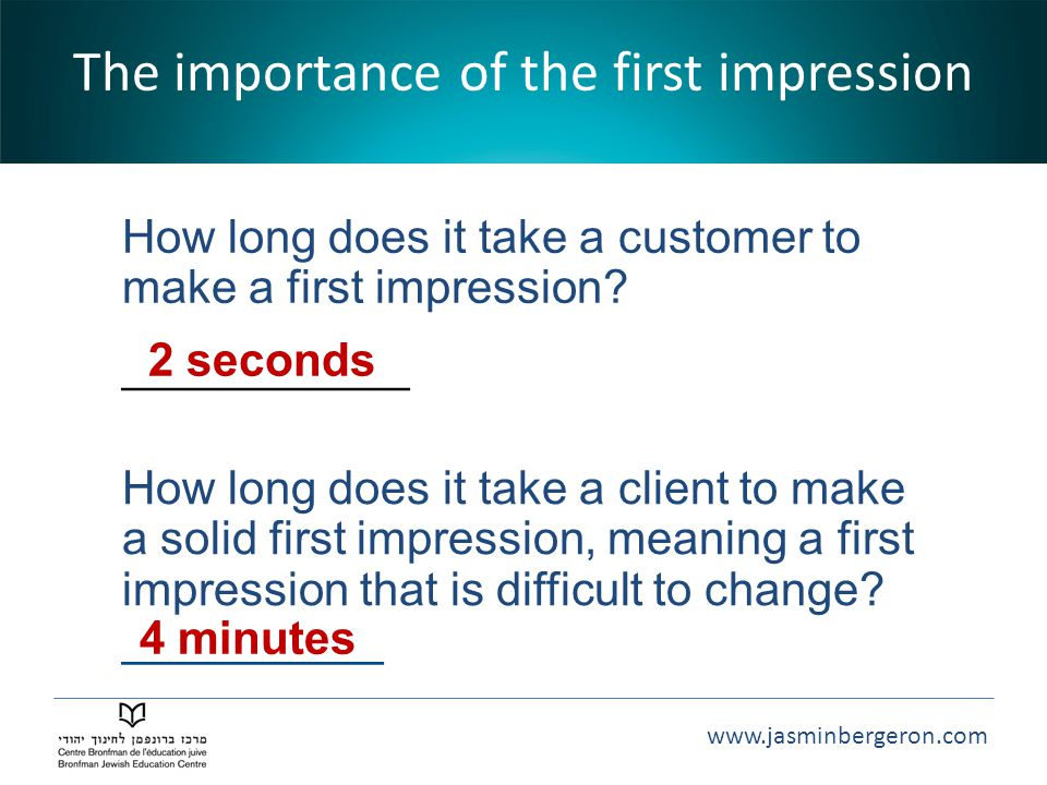 The importance of the first impression