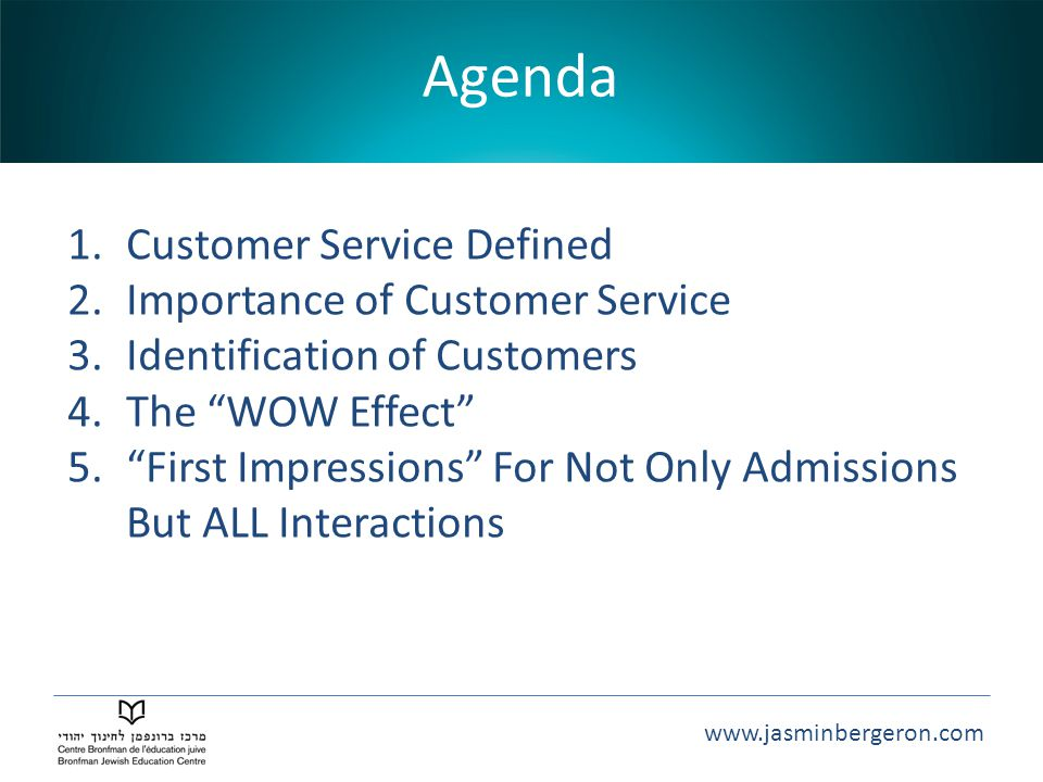 Agenda Customer Service Defined Importance of Customer Service