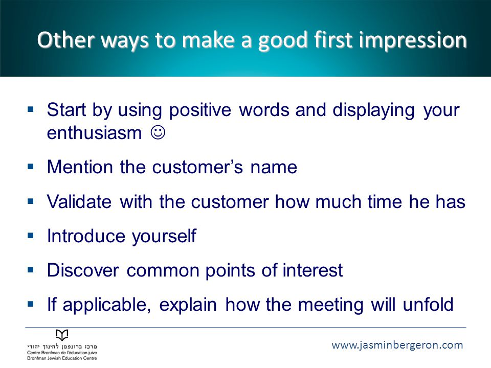 Other ways to make a good first impression