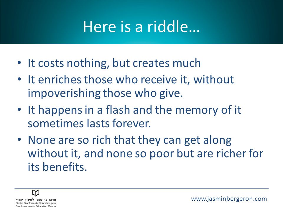 Here is a riddle… It costs nothing, but creates much