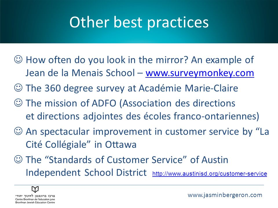 Other best practices How often do you look in the mirror An example of Jean de la Menais School – www.surveymonkey.com.