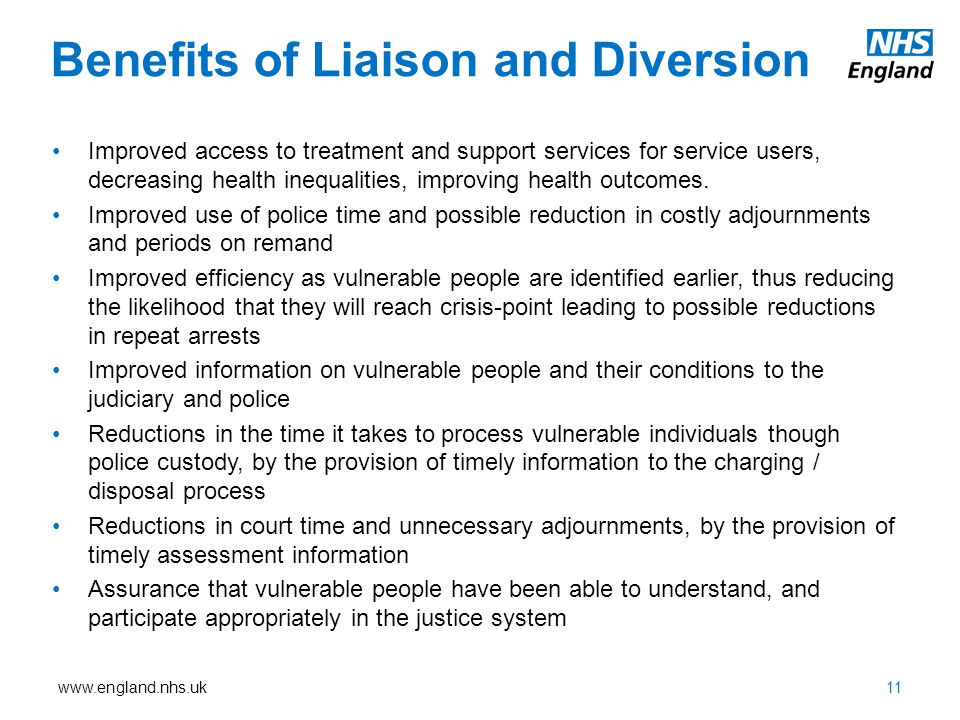 Benefits of Liaison and Diversion