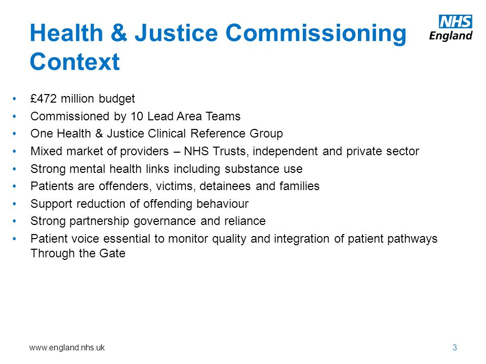 Health & Justice Commissioning Context