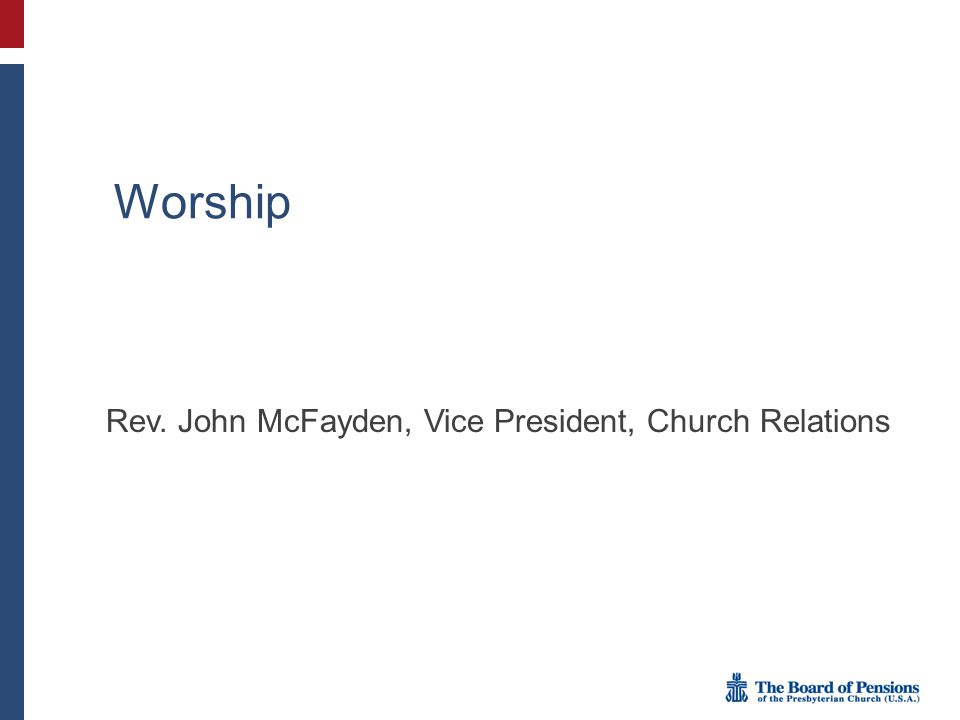 Rev. John McFayden, Vice President, Church Relations