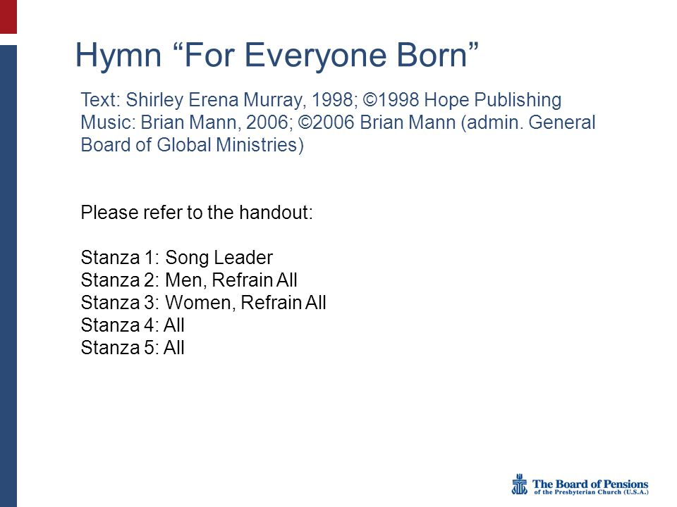 Hymn For Everyone Born