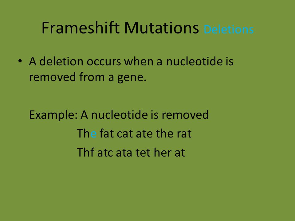 Frameshift Mutations Deletions