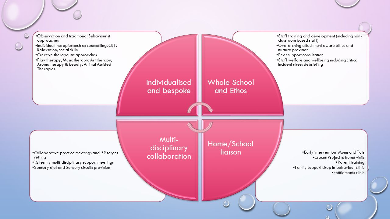 Individualised and bespoke Whole School and Ethos