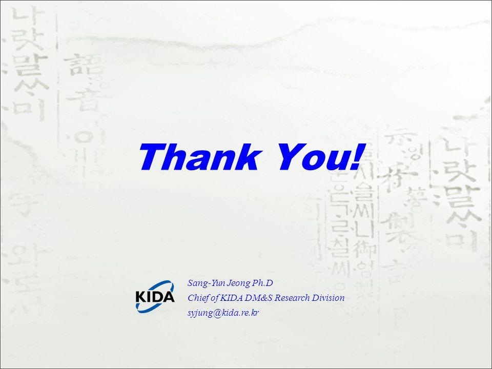 Thank You! Sang-Yun Jeong Ph.D Chief of KIDA DM&S Research Division