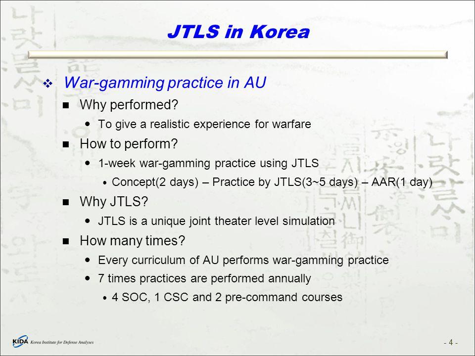 JTLS in Korea War-gamming practice in AU Why performed