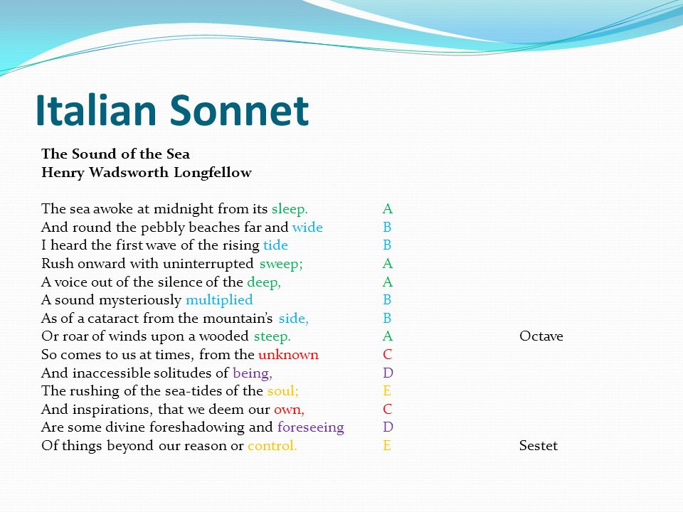 Italian Sonnet The Sound of the Sea Henry Wadsworth Longfellow
