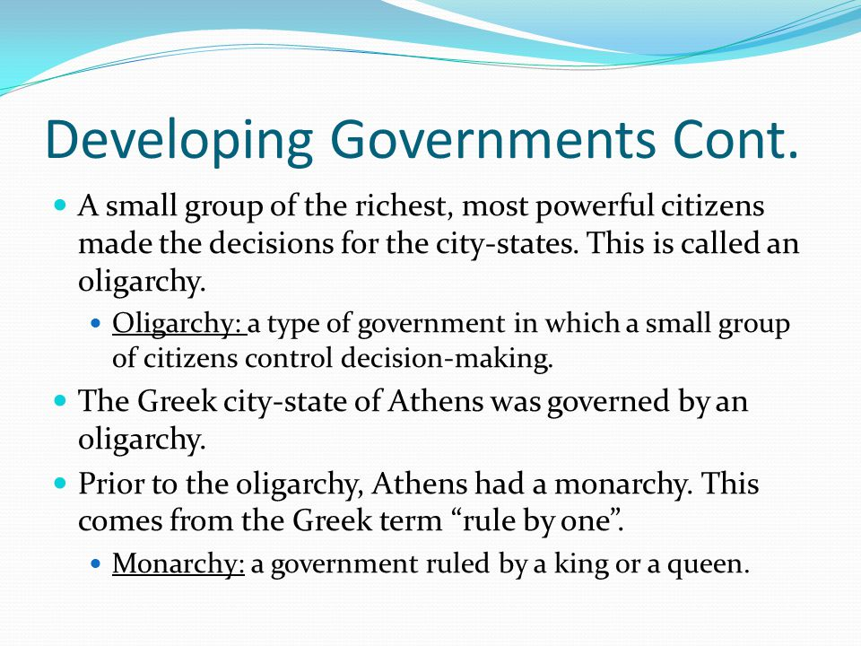 Developing Governments Cont.