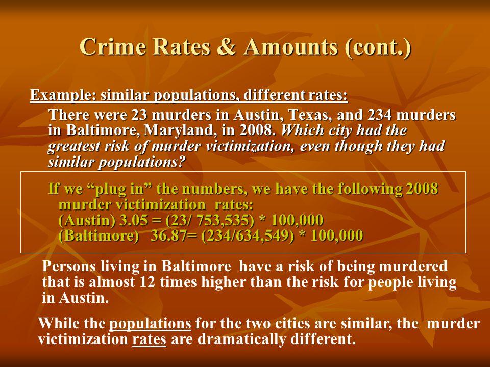 Crime Rates & Amounts (cont.)