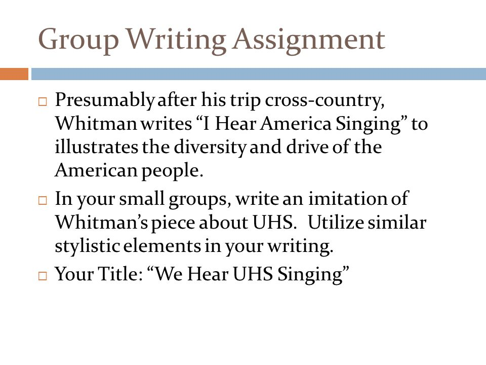 Group Writing Assignment