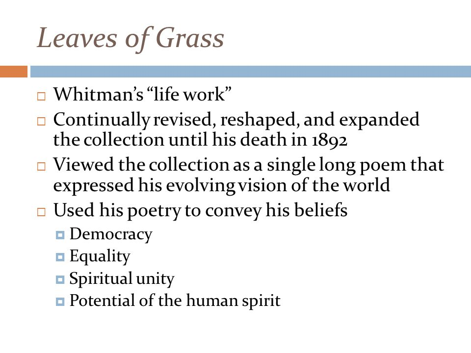 Leaves of Grass Whitman's life work