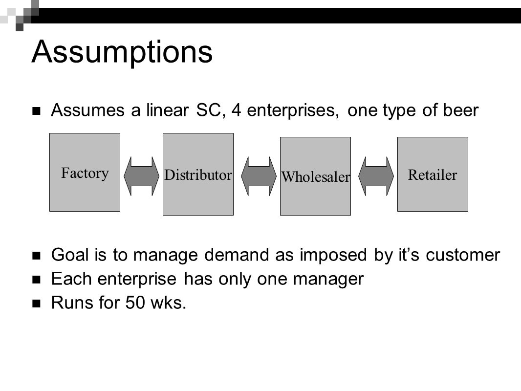 Assumptions Assumes a linear SC, 4 enterprises, one type of beer