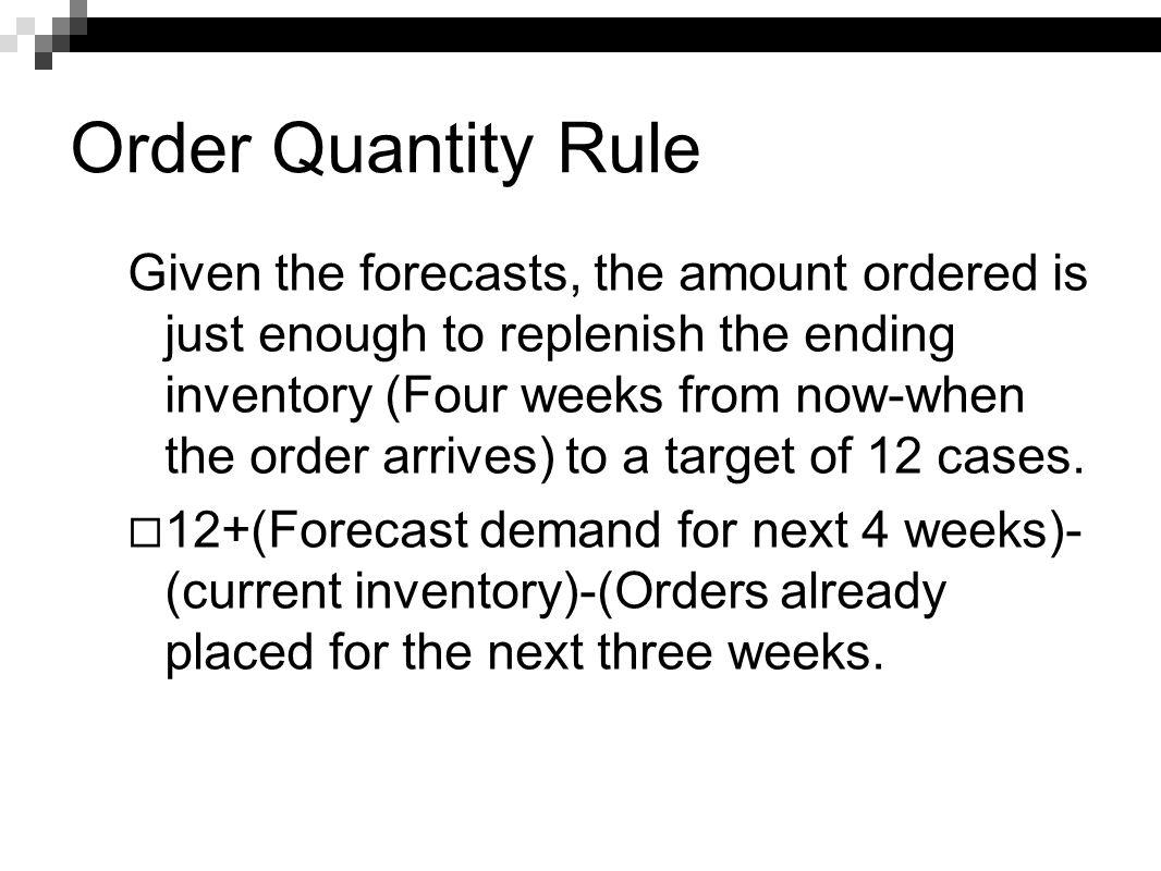 Order Quantity Rule