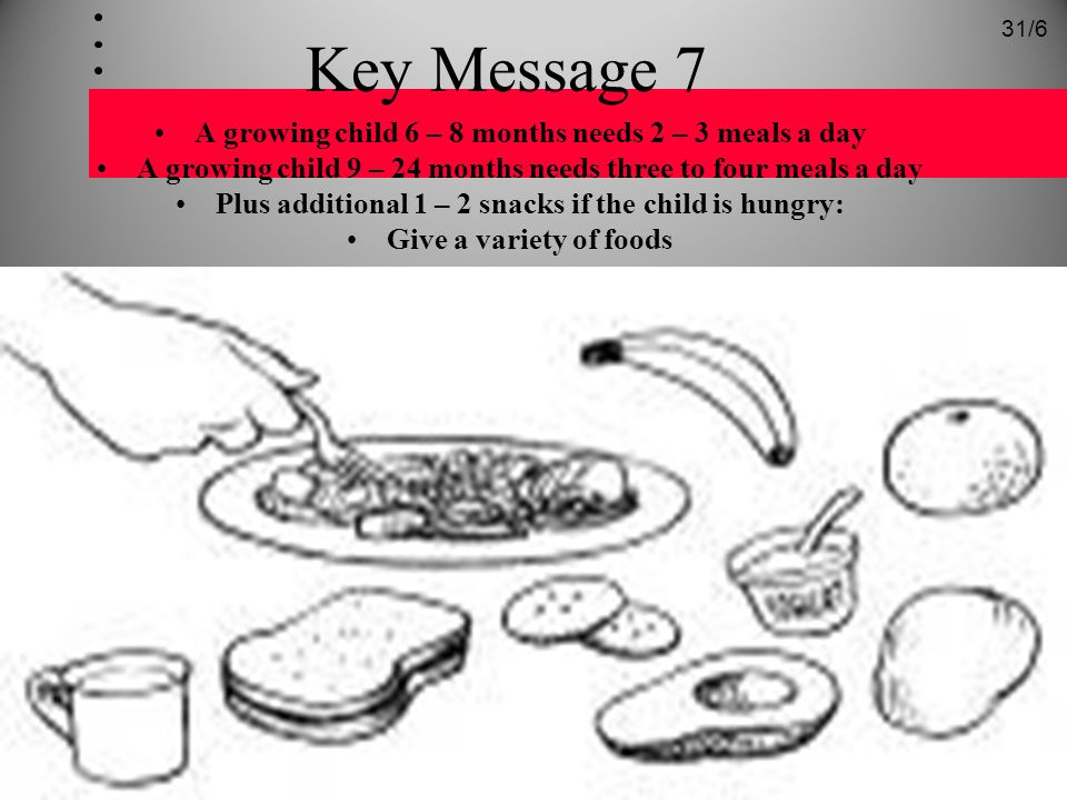 Key Message 7 A growing child 6 – 8 months needs 2 – 3 meals a day