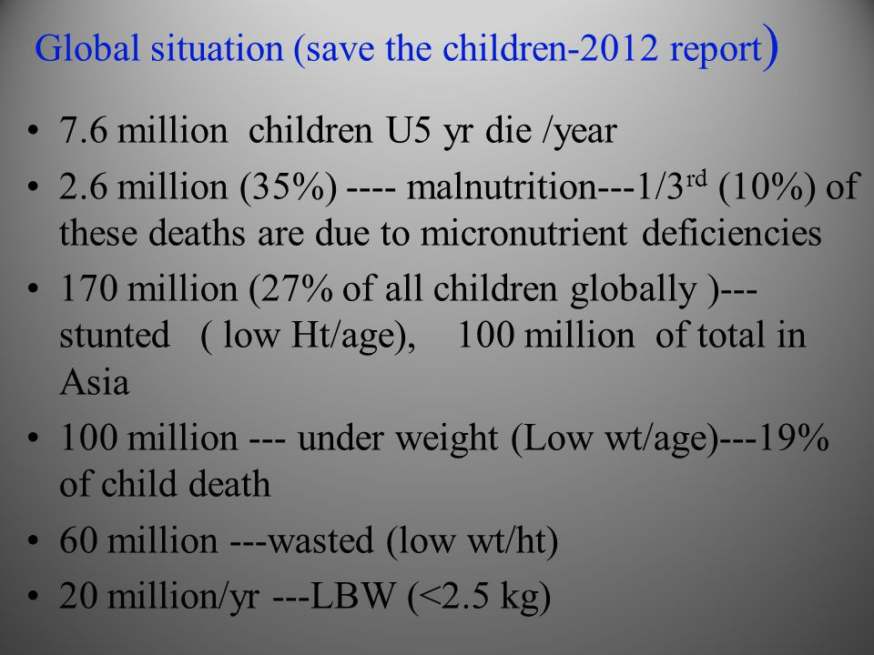 Global situation (save the children-2012 report)