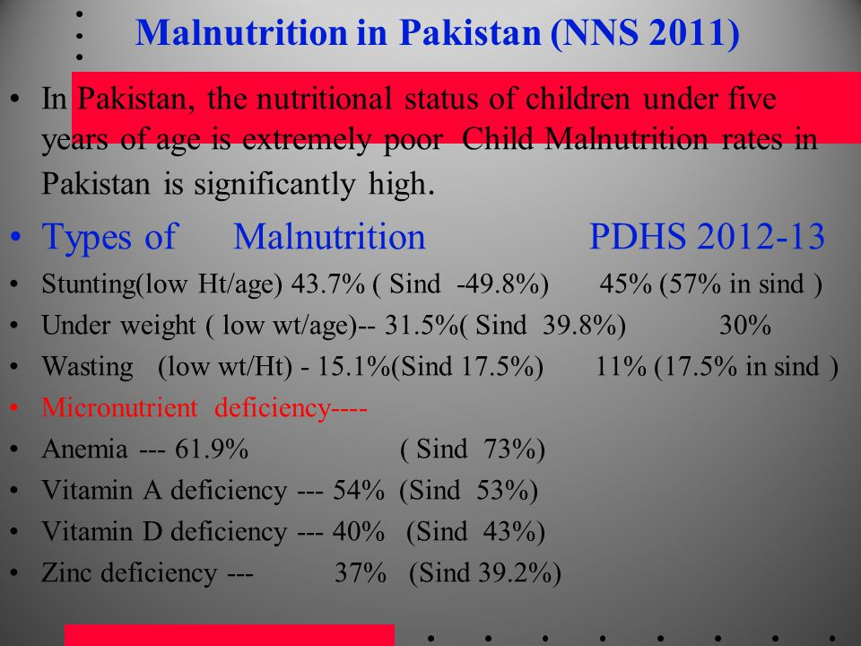 Malnutrition in Pakistan (NNS 2011)