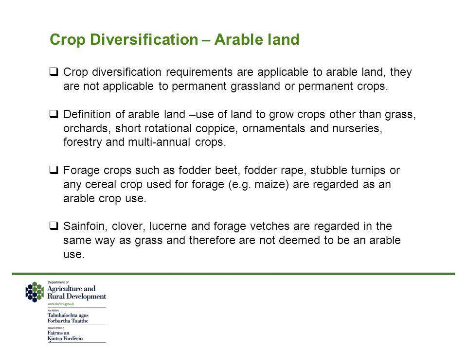 Crop Diversification – Arable land