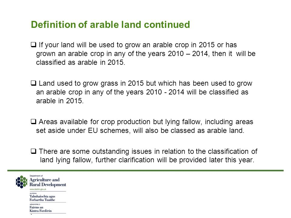 Definition of arable land continued