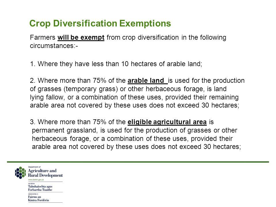 Crop Diversification Exemptions