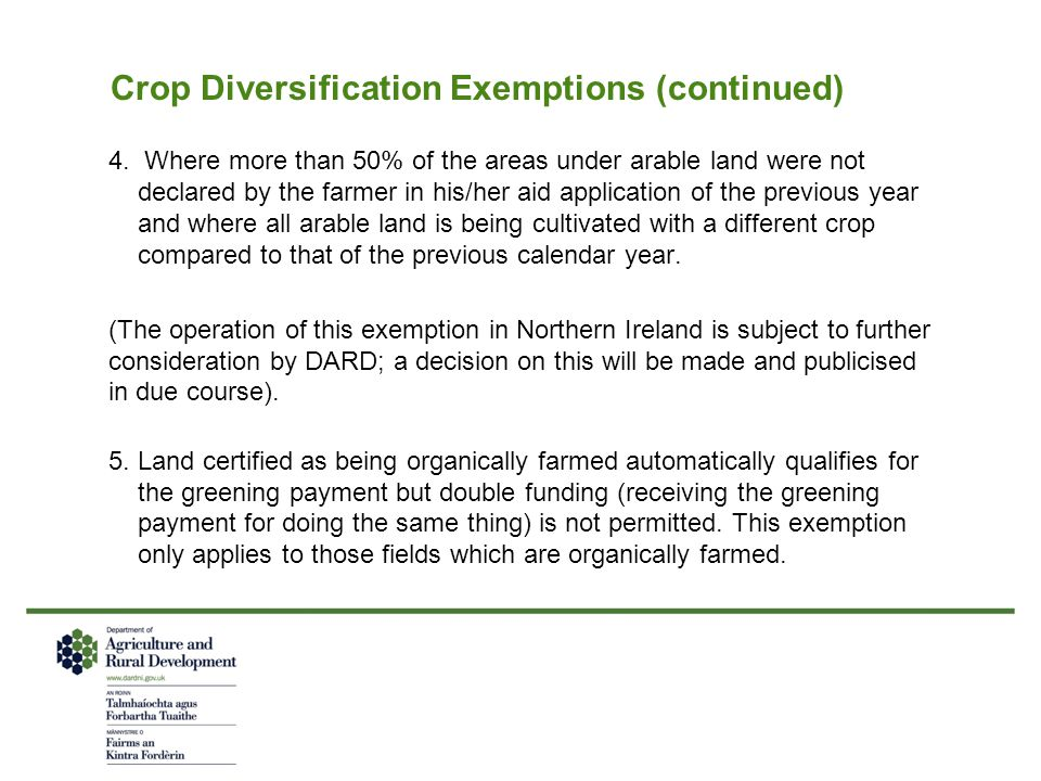 Crop Diversification Exemptions (continued)
