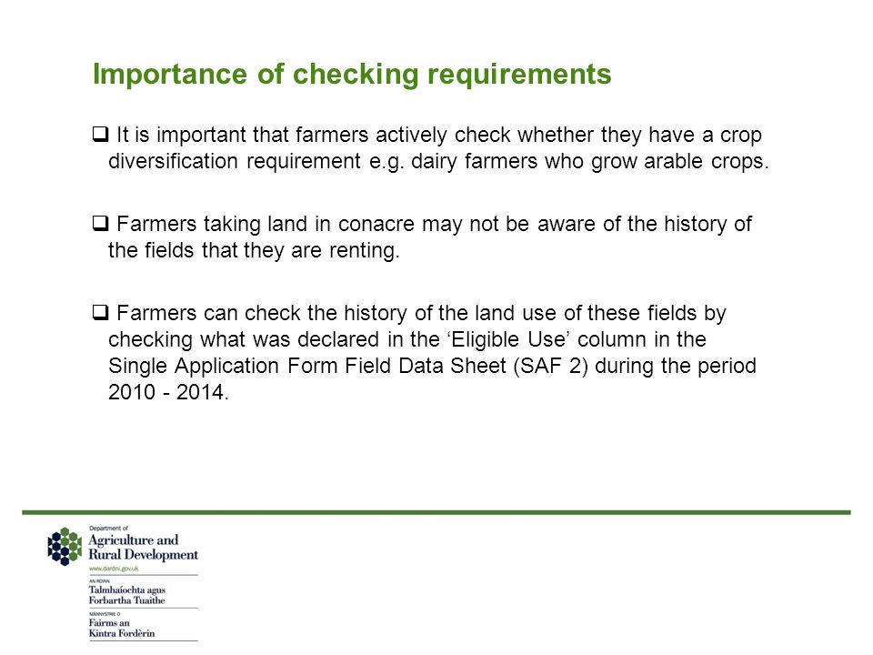 Importance of checking requirements