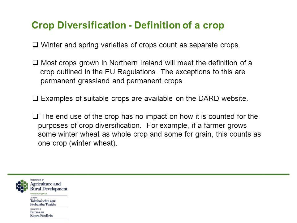 Crop Diversification - Definition of a crop