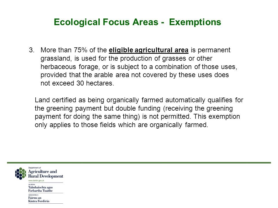 Ecological Focus Areas - Exemptions