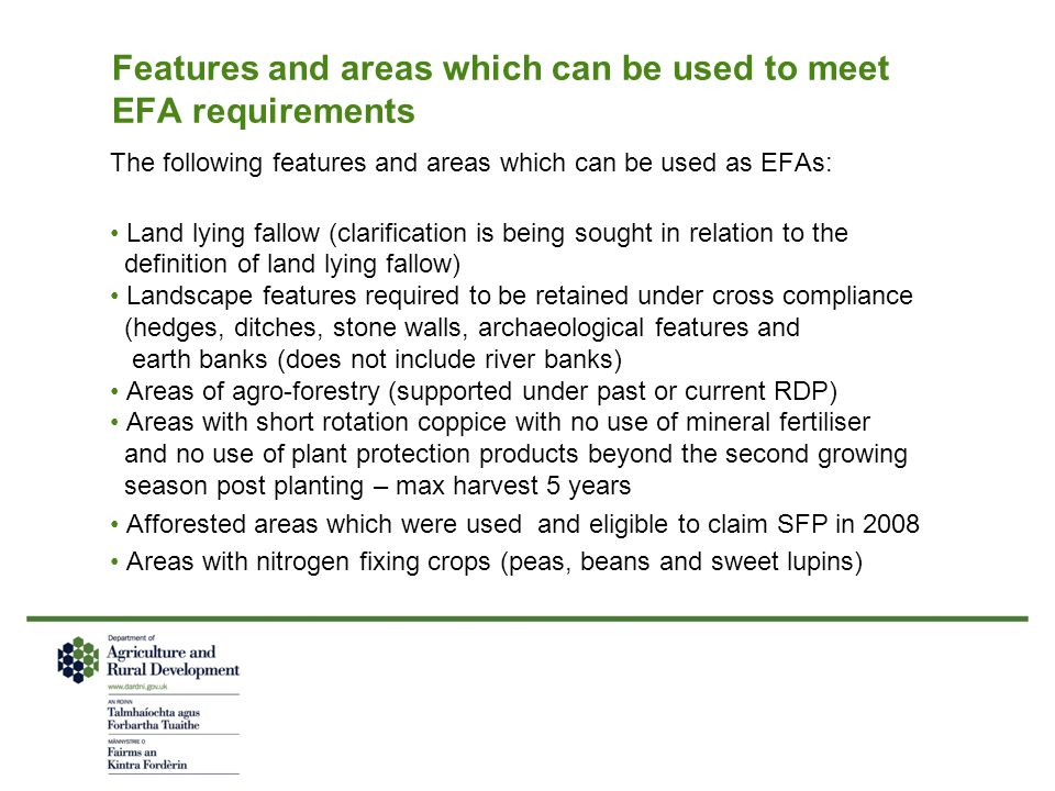 Features and areas which can be used to meet EFA requirements