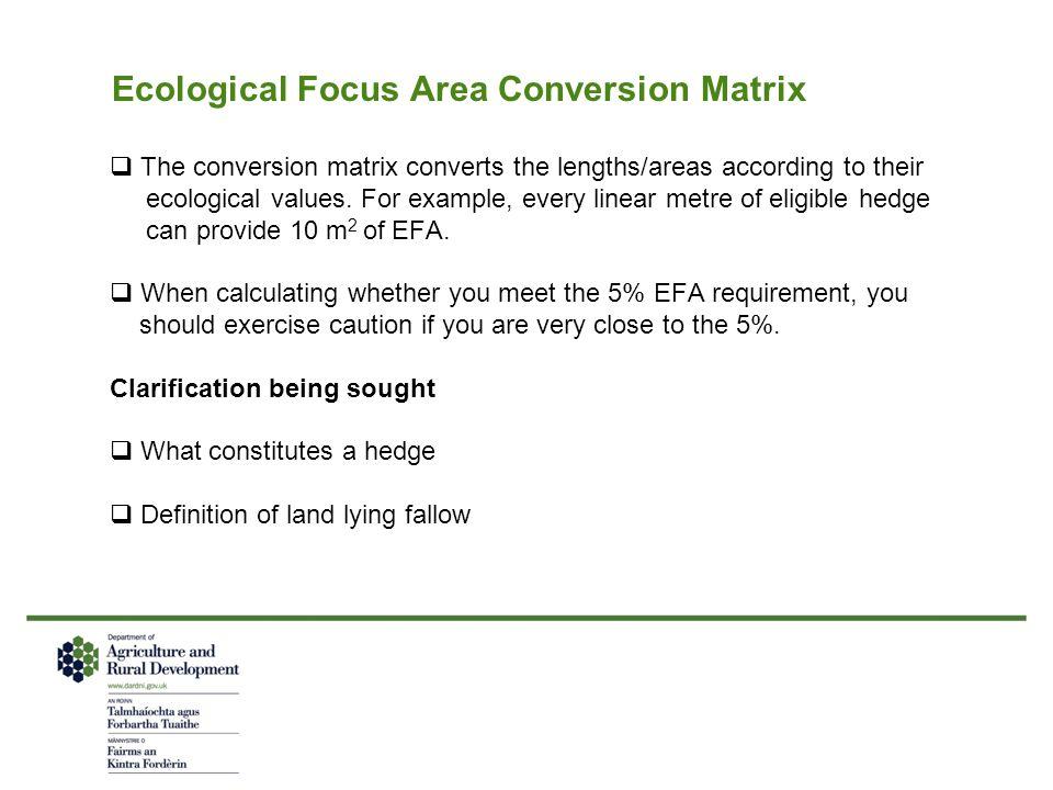 Ecological Focus Area Conversion Matrix