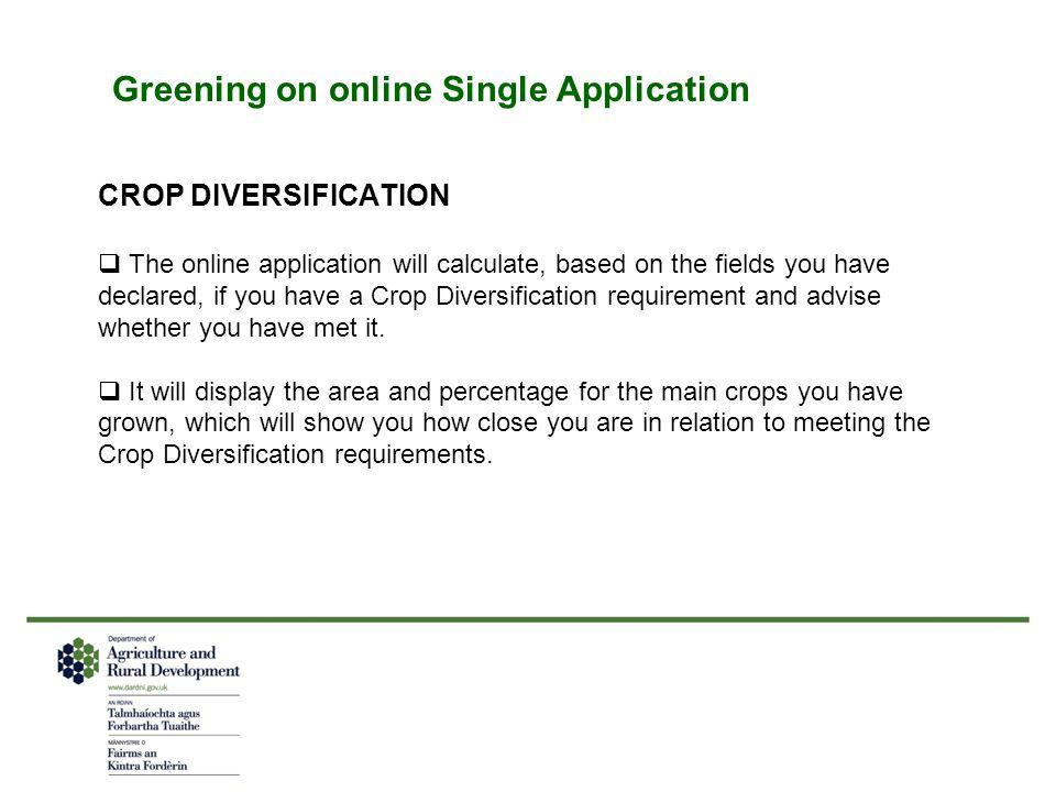 Greening on online Single Application