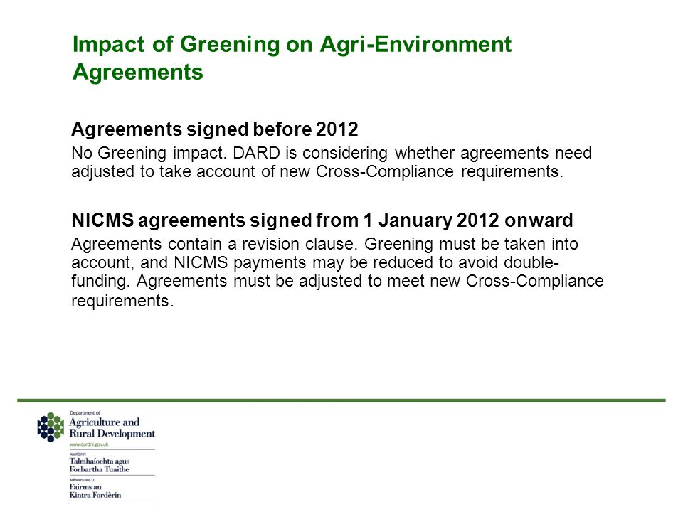 Impact of Greening on Agri-Environment Agreements
