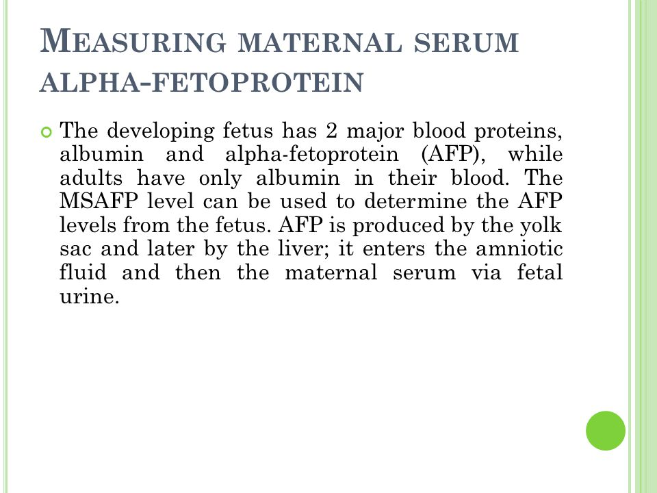 Measuring maternal serum alpha-fetoprotein