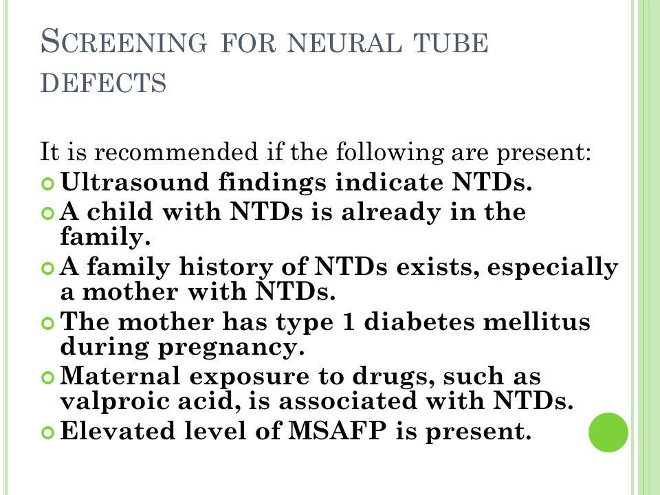 Screening for neural tube defects