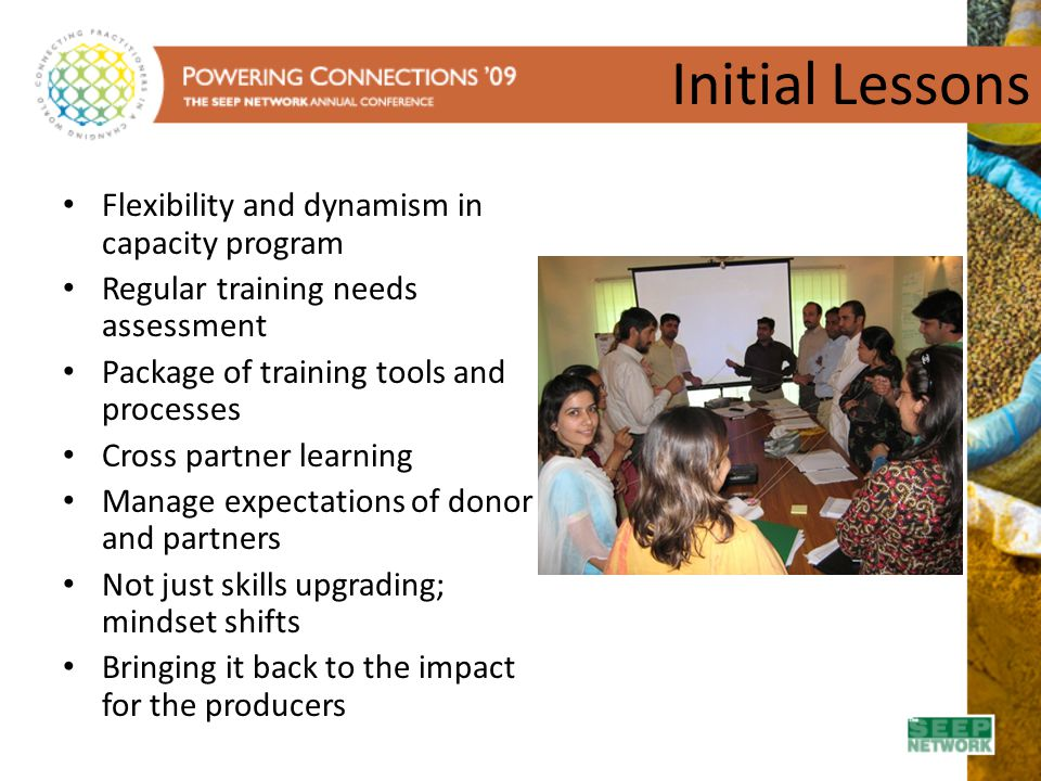 Initial Lessons Flexibility and dynamism in capacity program
